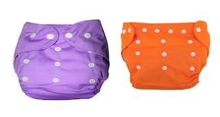 Kidsify Washable Baby Diaper Premium Cloth Diaper Reusable,Adjustable Size,Waterproof,Pocket Cloth Diaper Nappie (2 Diaper and 2 Insert Pad)(Purple & Orange)