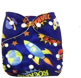 Kidsify Washable Baby Cloth Diaper Reusable,Adjustable Size,Waterproof,Pocket Cloth Diaper Nappie,Printed Button Diaper for Babies/Infants/Toddlers (Space Print)
