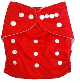 Kidsify Washable Baby Diaper Premium Cloth Diaper Reusable,Adjustable Size,Waterproof,Pocket Cloth Diaper Nappie (1 Diaper and 1 Insert Pad)(Red)