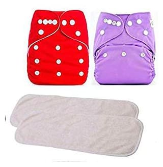 Kidsify Washable Baby Diaper Premium Cloth Diaper Reusable, Adjustable Size, Waterproof, Pocket Cloth Diaper Nappie (2 Diaper and 2 Insert Pad)(Red & Purple)