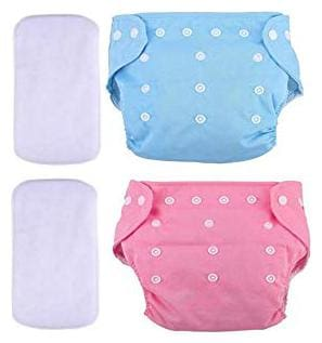 Kidsify Washable Baby Diaper Premium Cloth Diaper Reusable,Adjustable Size,Waterproof,Pocket Cloth Diaper Nappie (2 Diaper and 2 Insert Pad)(Blue & Pink)