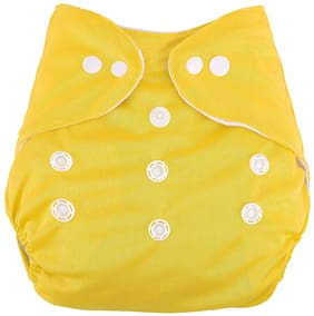 Kidsify Washable Baby Diaper Premium Cloth Diaper Reusable,Adjustable Size,Waterproof,Pocket Cloth Diaper Nappie (1 Diaper and 1 Insert Pad)(Yellow)