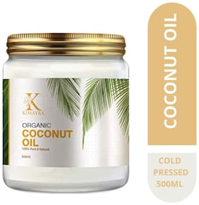 Kimayra World Organic Cold Pressed Coconut Oil with Natural Aroma of Coconut Oil for Hair & Dry Skin | Sulphate & Paraben free (500 ml)