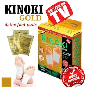 Kinoki Gold Detox Foot Patches 10 Adhesive Pads Kit Natural Unwanted Toxins Remover ( With Ginger & Salt ) pack of 1