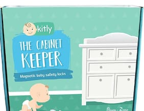 Kitly The Cabinet Keeper Magnetic Baby Safety Locks with 4 Bonus Corner Guards