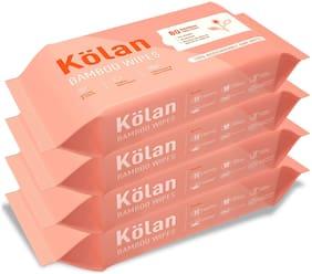 Kolan Eco-Friendly Bamboo Baby Wipes With Olive Oil, Aloe Vera & Jojoba Oil, 80 Wipes/Pack (Pack Of 4)