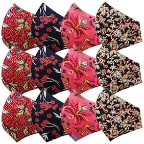 Kroptee 12 Flower Women/Girls Special Printed  Premium Cotton Face Mask