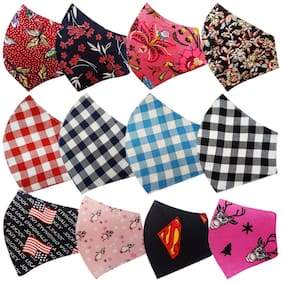 Kroptee 4 Flower;4 Checkered & 4 Kids Printed Cotton Face Mask (Pack of 12)