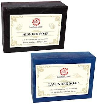 Kumkum Khadi Herbal Almond and Lavender Soap 125 g Each ( Pack Of 2 )