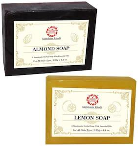 Kumkum Khadi Herbal Almond and Lemon Soap 125g Each (Pack of 2)