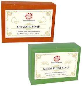 Kumkum Khadi Herbal Orange and Neem Tulsi Soap 125g Each (Pack of 2)