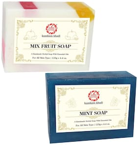 Kumkum Khadi Herbal Mix Fruit and Mint Soap 125g (Pack Of 2)