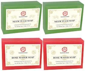 Kumkum Khadi Herbal Neem Tulsi and Rose Water Soap -125g (Pack of 4)