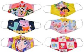 Kundan kids' Reusable Washable Anti Dust Cartoon Mask Suitable upto 12 years For Girls