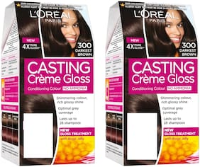 L'Oreal Paris Casting Creme Gloss Hair Color - 300 Darkest Brown pack of 2