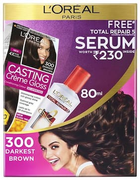 L'Oreal Paris Casting Creme Gloss Hair Colour 300 Darkest Brown With Free Total Repair 5 Serum, 239.5 gm