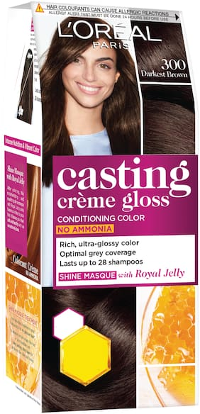 L'Oreal Paris Casting Creme Gloss Small Pack, 300 Darkest Brown, 45g