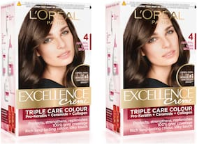 L'Oreal Paris Excellence Cream Hair Color - 4 Natural Dark Brown pack of 2