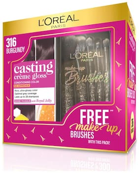 L'Oreal Paris Casting Creme Gloss Hair Color 316 Burgundy with Free Makeup Brushes(165gm)