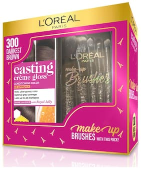 L'Oreal Paris Casting Creme Gloss Hair Color 300 Brown with Free Makeup Brushes (165gm)