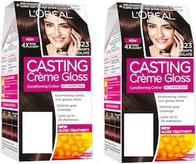 L'Oreal Paris Casting Creme Gloss Hair Color - 323 Sonam Dark Chocolate pack of 2