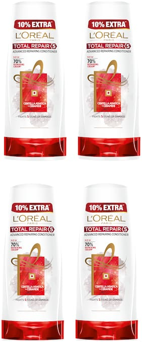 L'Oreal Paris Hair Expertise Total Repair 5 Conditioner 175 ml + 10% Extra (192.5 ml) (Pack of 4)