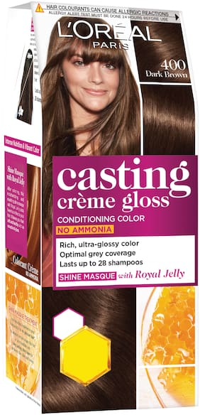 L'Oreal Paris Casting Creme Gloss Small Pack, 400 Dark Brown, 45g