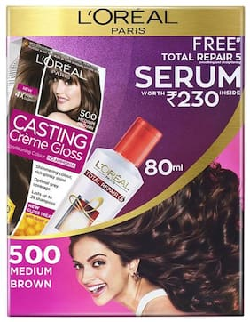 L'Oreal Paris Casting Creme Gloss Hair Colour 500 Medium Brown With Free Total Repair 5 Serum, 239.5 g