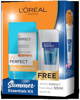 L'Oreal Paris UV Perfect Even Complexion 80gm with White Perfect Facewash 50ml Free