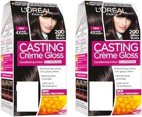 L'Oreal Paris Casting Creme Gloss Hair Color - 200 Ebony Black pack of 2