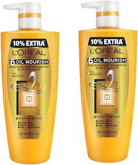 L'Oreal Paris Hair Expertise 6 Oil Nourish Shampoo 640 Ml + 10%of640ml =704ml pack of 2