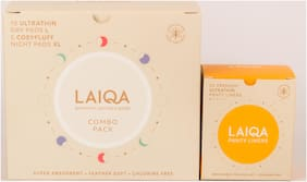 Laiqa Period Pack: Premium Sanitary Napkins Cosyfluff + Ultrathin Combo Pack 10 Days Pad L & 5 Night Pads XL - 1 Box + Laiqa Panty Liner 155mm