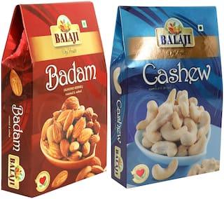 LALI Balaji Roasted & Salted Badam 250g + Roasted & Salted Cashew 250g Pack of 2