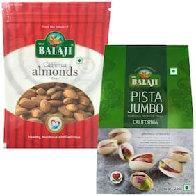 Lali Balaji Calfornia Almonds Regular 200g & California Pistachios Ls 250g (Pack Of 2)