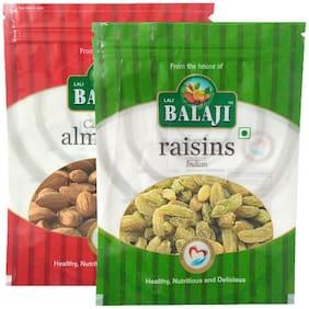 Lali Balaji Calfornia Almonds Regular 200gm & Green Indian Raisins/Kishmish 200gm (Pack Of 2)