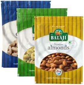 Lali Balaji California Almonds Premium 200gm;Green Indian Raisins/Kishmish 200gm & Cashew W-240 Premium 200gm (Pack Of 3)