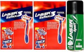 Laser Reflex Triple Blade Razors: 8 pcs, Lemon shaving foam: 200gm (Pack of 3)