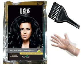 Lass Naturals Hair Colour (Black) - Natural Henna Powder with Hair Nourishment and Deep Conditioning Properties, 100g - Hair Care