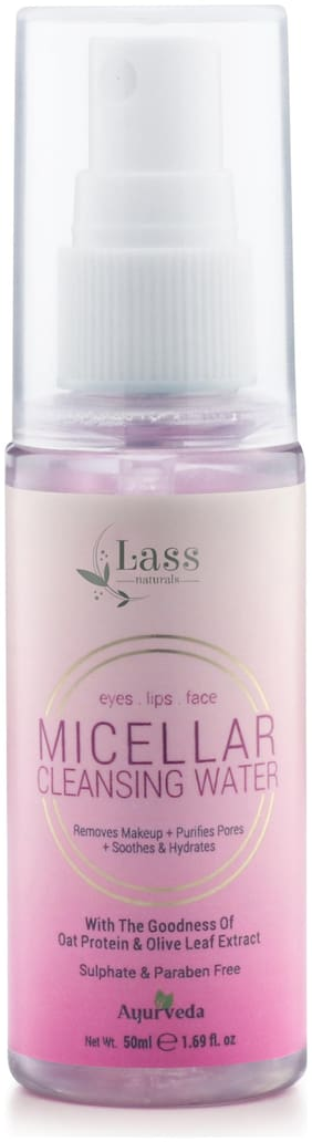 Lass Naturals Micellar Cleansing Water, 50ml - No Paraben & Sulphate