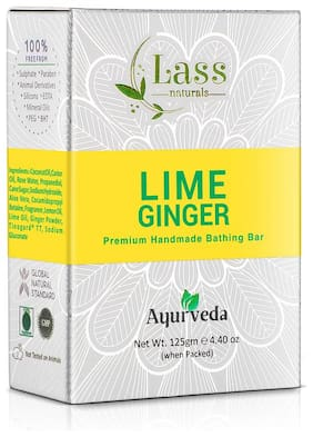 Lass Naturals Lime & Ginger Soap - Handmade Bathing Bar with Stimulating Fragrance and Essential Oils, 125g (Pack of 6) - Skin Care