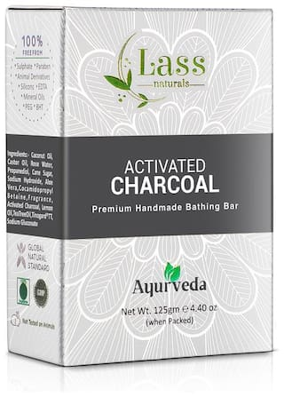 Lass Naturals Activated Charcoal Soap   Premium Handmade Bathing Bar with Pure Essential Oils 125 g   Body Care (Pack of 3)
