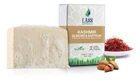 Lass Naturals Almond & Saffron Soap - Premium Handmade Milk Bathing Bar with Pure Essential Oils, 125 g - Skin Care