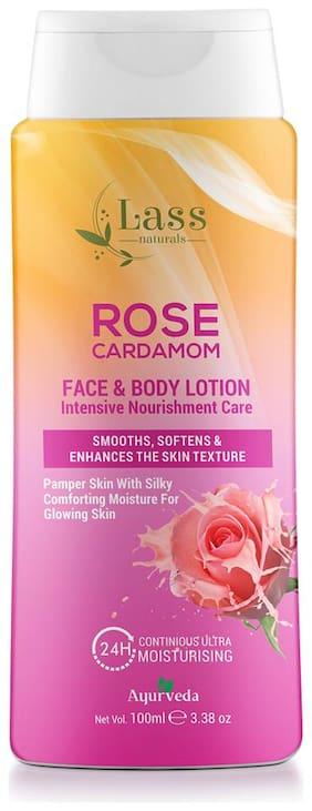 Lass Naturals Rose Cardamom Face & Body Lotion Intensive Nourishment Care 100 ml