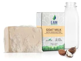 Lass Naturals Goat Milk with Shea Butter Soap - Handmade Bathing Bar for Sensitive and Dry Skin, 125 g (Pack of 2)- Skin Care