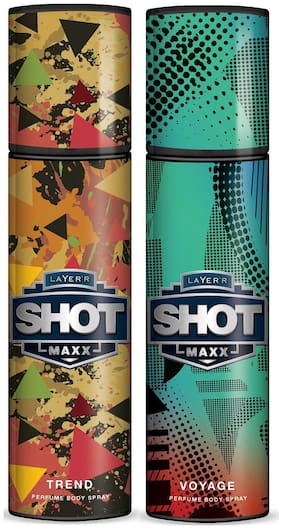 Layer'r Shot Maxx Trend & Voyage Perfume Body Spray (Pack of 2) - 125 ml Each