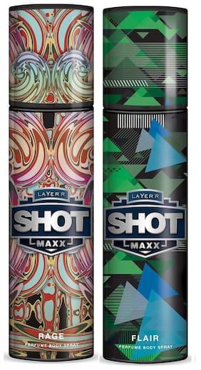 Layer'r Shot Maxx Rage & Flair Perfume Body Spray 125 ml Each (Pack of 2) - For Men