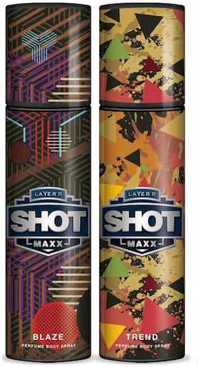 Layer'r Shot Maxx Blaze & Trend Perfume Body Spray (Pack of 2) - 125 ml Each