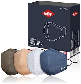 Lee Cooper Lightweight Multi-Layer Melange Face Mask Filter With Heiq Vblock For Outdoor Protection Super Breathable & Reusable Cloth (Pack Of 4)