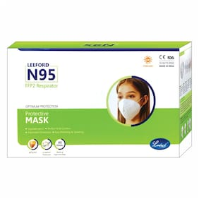 Leeford 5 Layered Single Packaging Non-Woven Fabric UV Sterilized FFP2 Respirator Reusable N95 Face Mask For Optimum Protection and Safety - 5 Mask