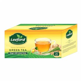 Leeford Green Tea Ginger with Lemon Grass for mind relaxation Pack of 2 (25 bags each)
